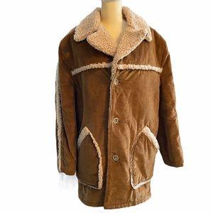 Lee Wald Corduroy Sherpa Western Rancher Coat